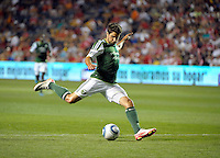 Portland forward Sal Zizzo (7) takes a shot on goal.  The Portland Timbers defeated the Chicago Fire 1-0 at Toyota Park in Bridgeview, IL on July 16, 2011.