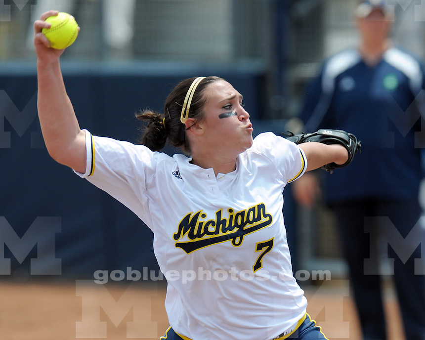 The University of Michigan softball team defeats Notre Dame 8-0 during the NCAA softball regional on May 22, 2010 at the Wilpon Softball Complex in Ann Arbor, MI.