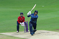Alex Blake hits out for Kent as James Foster looks on from behind the stumps during Kent Spitfires vs Essex Eagles, Royal London One-Day Cup Cricket at the St Lawrence Ground on 17th May 2017