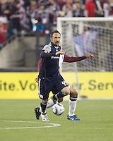 New England Revolution defender Ryan Cochrane (45) intercepts pass. In a Major League Soccer (MLS) match, the New England Revolution tied the Colorado Rapids, 0-0, at Gillette Stadium on May 7, 2011.
