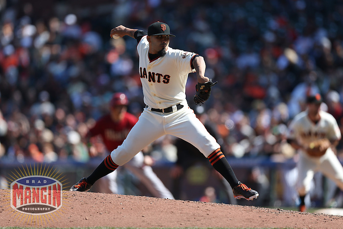 SAN FRANCISCO, CA - APRIL 24:  Sergio Romo #54 of the San Francisco Giants pitches against the Arizona Diamondbacks during the game at AT&T Park on Wednesday, April 24, 2013 in San Francisco, California. Photo by Brad Mangin