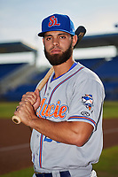 St. Lucie Mets designated hitter Wuilmer Becerra (28) poses for a photo before a game against the Dunedin Blue Jays on April 19, 2017 at Florida Auto Exchange Stadium in Dunedin, Florida.  Dunedin defeated St. Lucie 9-1.  (Mike Janes/Four Seam Images)