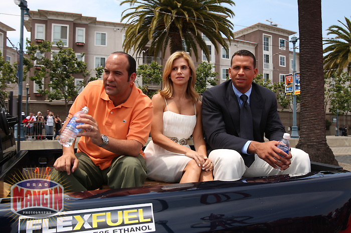 SAN FRANCISCO - JULY 10:  Alex Rodriguez of the New York Yankees rides in the All Star Game Red Carpet Show with his wife before the All Star Game against the National League at AT&T Park in San Francisco, California on July 10, 2007.  Photo by Brad Mangin