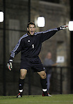 NC State goalkeeper Jorge Gonzalez on Friday, October 21st, 2005 at Koskinen Stadium in Durham, North Carolina. The Duke University Blue Devils defeated the North Carolina State University Wolfpack 6-0 during an NCAA Division I Men's Soccer game.