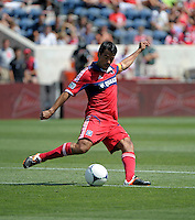Chicago midfielder Pavel Pardo (17) crosses the ball.  The LA Galaxy defeated the Chicago Fire 2-0 at Toyota Park in Bridgeview, IL on July 8, 2012.