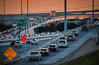 Sunset falls on MoPac Expressway (Loop 1), one of the most congested freeways in Austin.