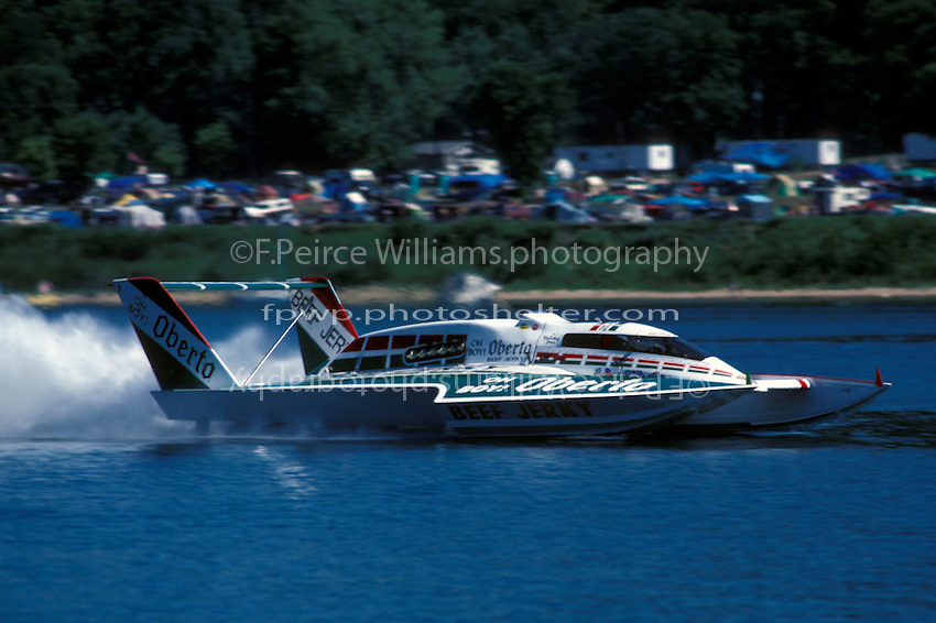 """Mark Tate, U-2 """"Oh Boy! Oberto the last hydroplane to race with Rolls Royce Merlin power. Madison, IN 1988"""
