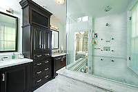 Classic black and white master bath