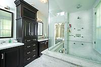 Classic black and white master bath