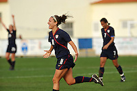 USA forward Lauren Cheney celebrates her second of two goals.  The USA was victorious over Sweden 2-0 in Ferreiras on March 1, 2010 at the Algarve Cup.