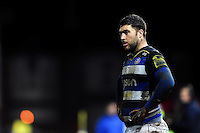 Matt Banahan of Bath Rugby looks on during a break in play. Aviva Premiership match, between Gloucester Rugby and Bath Rugby on March 26, 2016 at Kingsholm Stadium in Gloucester, England. Photo by: Patrick Khachfe / Onside Images