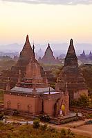 Myanmar, Burma, Bagan.  Temples in Early-Morning Sunlight.