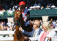 LEXINGTON, KY - April 08, 2017, #1 Holding Gold and jockey Joel Rosario after winning the 21st running of the Shakertown Grade 2 $200,000 for owner Live Oak Plantation and trainer Mark Casse at Keeneland Race Course.  Lexington, Kentucky. (Photo by Candice Chavez/Eclipse Sportswire/Getty Images)
