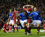 Jean-Claude Darcheville celebrates his goal with Kris Boyd