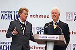 Nederland, Achlum, 28-05-2011 CONVENTIE VAN ACHLUM.   Bill Clinton beantwoord ,na zijn toespraak , vragen van Achmea CEO Willem van Duin . Verzekeraar Achmea viert vandaag in het Friese dorpje haar 200 jarig bestaan.FOTO: Gerard Til / Hollandse Hoogte
