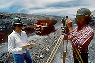 May 6th to 13th, 1985 in Navajo Reserve, AZ.  McKinnley open coal mine is few miles east of Window Rock, AZ. Not all the workers are  from the Navajo Tribe. The coal is dark grey color and is not treated locally.
