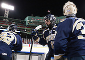 Ethan Holdaway (Trinity - 22), James Burt (Trinity - 11), Kevin Green (Trinity - 33) - The Williams College Ephs defeated the Trinity College Bantams 4-2 (EN) on Tuesday, January 7, 2014, at Fenway Park in Boston, Massachusetts.