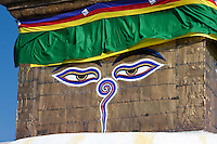 Kathmandu, Nepal.  The Harmika (Square Base) Portion of the Swayambhunath Stupa, with the Watchful Eyes of the Buddha.  Below the eyes is the Nepali number one, symbolizing the unity of life.