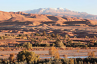 Oued Marghen river with the Atlas mountains in the distance, Ait Ben Haddou, Ounila Valley, Ouarzazate province, Morocco. Picture by Manuel Cohen