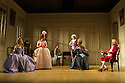 Bath, UK. 09.07.2012. THE SCHOOL FOR SCANDAL opens the Theatre Royal Bath's summer season of new in-house productions, overseen by leading guest director, Jamie Lloyd. Picture shows:  Susannah Fielding (Lady Teazle), Serena Evans (Lady Sneerwell), Timothy Speyer (Servant), Susannah Fielding (Lady Teazle),Edward Bennett (Joseph Surface), Grant Gillespie (Sir Benjamin Backbite), Maggie Steed (Mrs Candour), David Killick (Crabtree). Photo credit: Jane Hobson