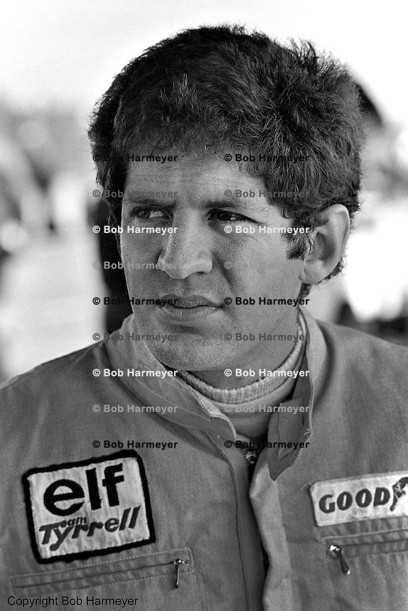 Jody Scheckter, driver of the Tyrrell P34 six-wheel Formula 1 car, during practice for the 1976 Grand Prix of Sweden at Anderstorp.
