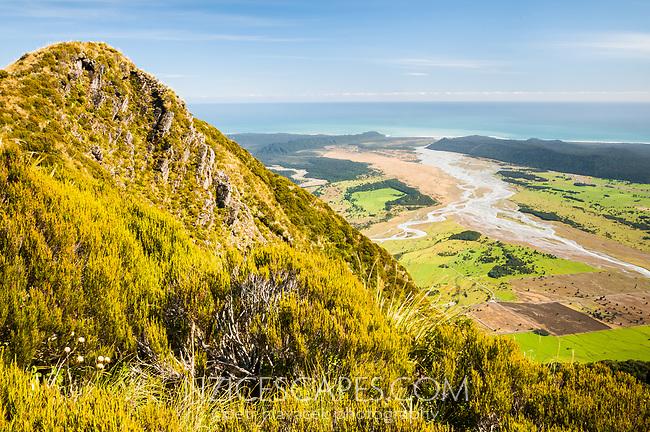 Views from Mt. Fox toward Tasman Sea, Westland Tai Poutini National Park, UNESCO World Heritage Area, West Coast, New Zealand, NZ