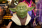 Yoda mask on display in Hollwyood Blvd. stroefront window