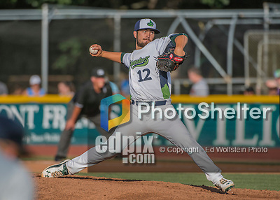31 July 2016: Vermont Lake Monsters pitcher Brandon Bailey on the mound against the Connecticut Tigers at Centennial Field in Burlington, Vermont. The Lake Monsters edged out the Tigers 4-3 in NY Penn League action.  Mandatory Credit: Ed Wolfstein Photo *** RAW (NEF) Image File Available ***