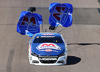 Feb 26, 2016; Chandler, AZ, USA; NHRA pro stock driver Allen Johnson during qualifying for the Carquest Nationals at Wild Horse Pass Motorsports Park. Mandatory Credit: Mark J. Rebilas-