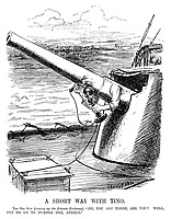 """A Short Way With Tino. The Big Gun (ringing up the Entente Exchange). """"Oh, you ARE there are you? Well, put me on to number one, Athens."""" (a Royal Navy gun connects to the telephone exchange and asks to be put through to Constantine I of Greece during WW1)"""