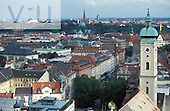 View of Munich from Saint Peters Church Tower. Marienplatz, Munich, Germany