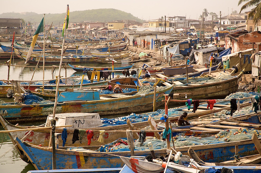 Artisnal fishing priogues in the harbor, Elmina, Ghana..Photograph by Peter E. Randall