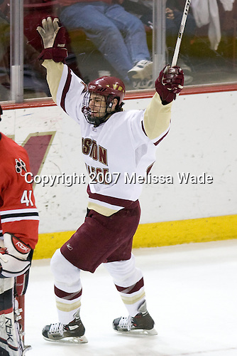 Matt Lombardi (BC - 24) celebrates his first collegiate goal. - The Boston College Eagles defeated the visiting Northeastern University Huskies 7-1 on Friday, March 9, 2007, to win their Hockey East quarterfinals matchup in two games at Conte Forum in Chestnut Hill, Massachusetts.