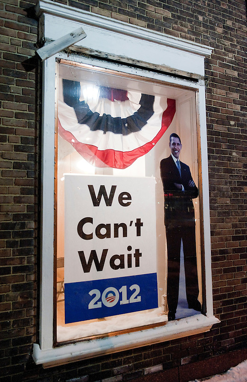 UNITED STATES - FEBRUARY 12:  An image of President Barack Obama and a slogan hang in the window of his campaign office in Cleveland, Ohio. (Photo By Tom Williams/CQ Roll Call)