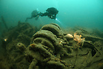 """Divers exploring the 19th century steamship """"Duke of Buccleuch"""" which lies in 58 metres of water in the English Channel"""
