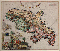 Map of the island of Martinique, German copy of the map by Guillaume Delisle, 1675-1726, by Matthieu Seutter, 1678-1757, after 1732, coloured engraving, from the Chatillon collection, in the Musee d'Aquitaine, Cours Pasteur, Bordeaux, Aquitaine, France. Picture by Manuel Cohen