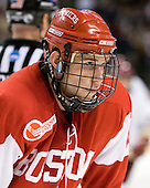 Ryan Ruikka (BU - 2) - The Boston College Eagles defeated the Boston University Terriers 3-2 (OT) in their Beanpot opener on Monday, February 7, 2011, at TD Garden in Boston, Massachusetts.