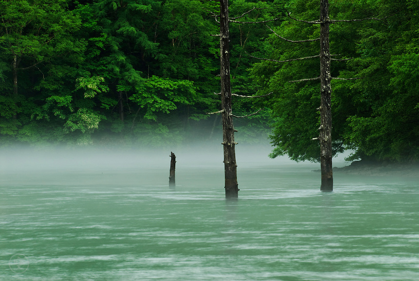 Green on green. Between mountains, hidden by cloud, mist rises from the from the blue-green waters of Taisho-ike during the rainy season, Kamikochi, Japan.<br /> <br /> (title translation David Landis Barnhill)