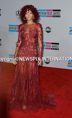 "RHIANNA.American Music Awards 2010,Nokia Rheatre, Los Angeles_21/10/2010.Mandatory Photo Credit: ©Dias/Newspix International..**ALL FEES PAYABLE TO: ""NEWSPIX INTERNATIONAL""**..PHOTO CREDIT MANDATORY!!: NEWSPIX INTERNATIONAL(Failure to credit will incur a surcharge of 100% of reproduction fees)..IMMEDIATE CONFIRMATION OF USAGE REQUIRED:.Newspix International, 31 Chinnery Hill, Bishop's Stortford, ENGLAND CM23 3PS.Tel:+441279 324672  ; Fax: +441279656877.Mobile:  0777568 1153.e-mail: info@newspixinternational.co.uk"