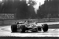 MONTREAL, CANADA - SEPTEMBER 27: Gilles Villeneuve drives his damaged Ferrari F126CK 052/Ferrari 021 to third place in the 1981 Canadian Grand Prix FIA Formula One World Championship race at the Circuit Île Notre-Dame temporary circuit in Montreal, Canada, on September 27, 1981.