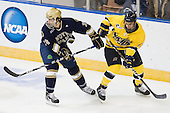 Stephen Johns (Notre Dame - 28), Mike Collins (Merrimack - 13) - The University of Notre Dame Fighting Irish defeated the Merrimack College Warriors 4-3 in overtime in their NCAA Northeast Regional Semi-Final on Saturday, March 26, 2011, at Verizon Wireless Arena in Manchester, New Hampshire.