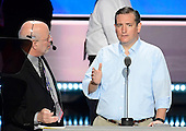 United States Senator Ted Cruz (Republican of Texas) rehearses prior to speaking this evening at the 2016 Republican National Convention held at the Quicken Loans Arena in Cleveland, Ohio on Wednesday, July 20, 2016.<br /> Credit: Ron Sachs / CNP<br /> (RESTRICTION: NO New York or New Jersey Newspapers or newspapers within a 75 mile radius of New York City)