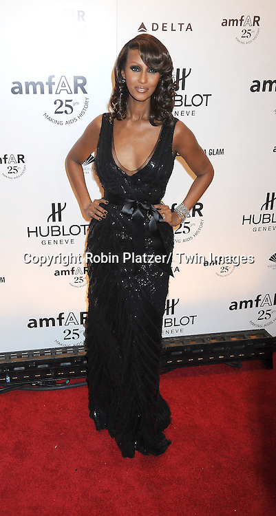 Iman attending the amfAR New York Gala on February 9, 2011 at Cipriani Wall Street in New York City. Dame Elizabeth Taylor, President Bill Clinton and Diane von Furstenberg were honored.