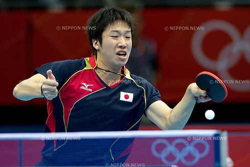 Jun Mizutani (JPN), .JULY 30, 2012 - Table Tennis : .Men's Singles 3rd round match at ExCeL during the London 2012 Olympic Games in London, UK.  (Photo by Enrico Calderoni/AFLO SPORT)