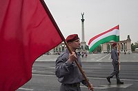 Supporters of the Hungarian Communist Party march together celebrating Labour Day on Heroes Square in Budapest, Hungary on May 01, 2011. ATTILA VOLGYI