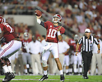 Ole Miss vs. Alabama quarterback AJ McCarron (10) at Bryant-Denny Stadium in Tuscaloosa, Ala. on Saturday, September 29, 2012.