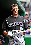 10 July 2011: Colorado Rockies All-Star shortstop Troy Tulowitzki stands in the dugout prior to facing the Washington Nationals at Nationals Park in Washington, District of Columbia. The Nationals shut out the visiting Rockies 2-0 salvaging the last game their 3-game series at home prior to the All-Star break. Mandatory Credit: Ed Wolfstein Photo