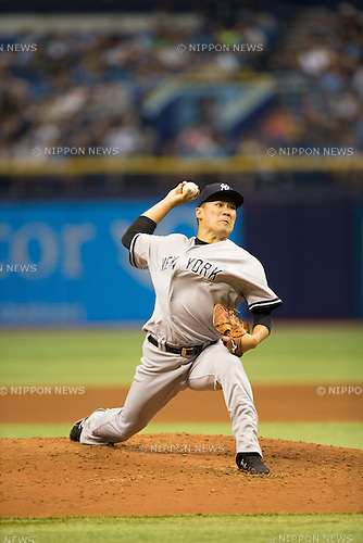 Masahiro Tanaka (Yankees),<br /> APRIL 18, 2015 - MLB : Masahiro Tanaka of the New York Yankees pitches against the Tampa Bay Rays during a Major League Baseball game at Tropicana Field in Tampa, Florida, United States.<br /> (Photo by Thomas Anderson/AFLO) (JAPANESE NEWSPAPER OUT)