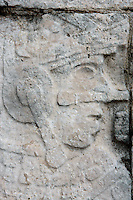 Detail of Ball player on the panel decorating the platform supporting the wall of the Game of Ball, 900-1100 AD, Toltec Architecture, Chichen Itza, Yucatan, Mexico. Picture by Manuel Cohen