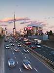 Sunset scenery the Gardiner Expressway leading to downtown Toronto. Ontario, Canada.